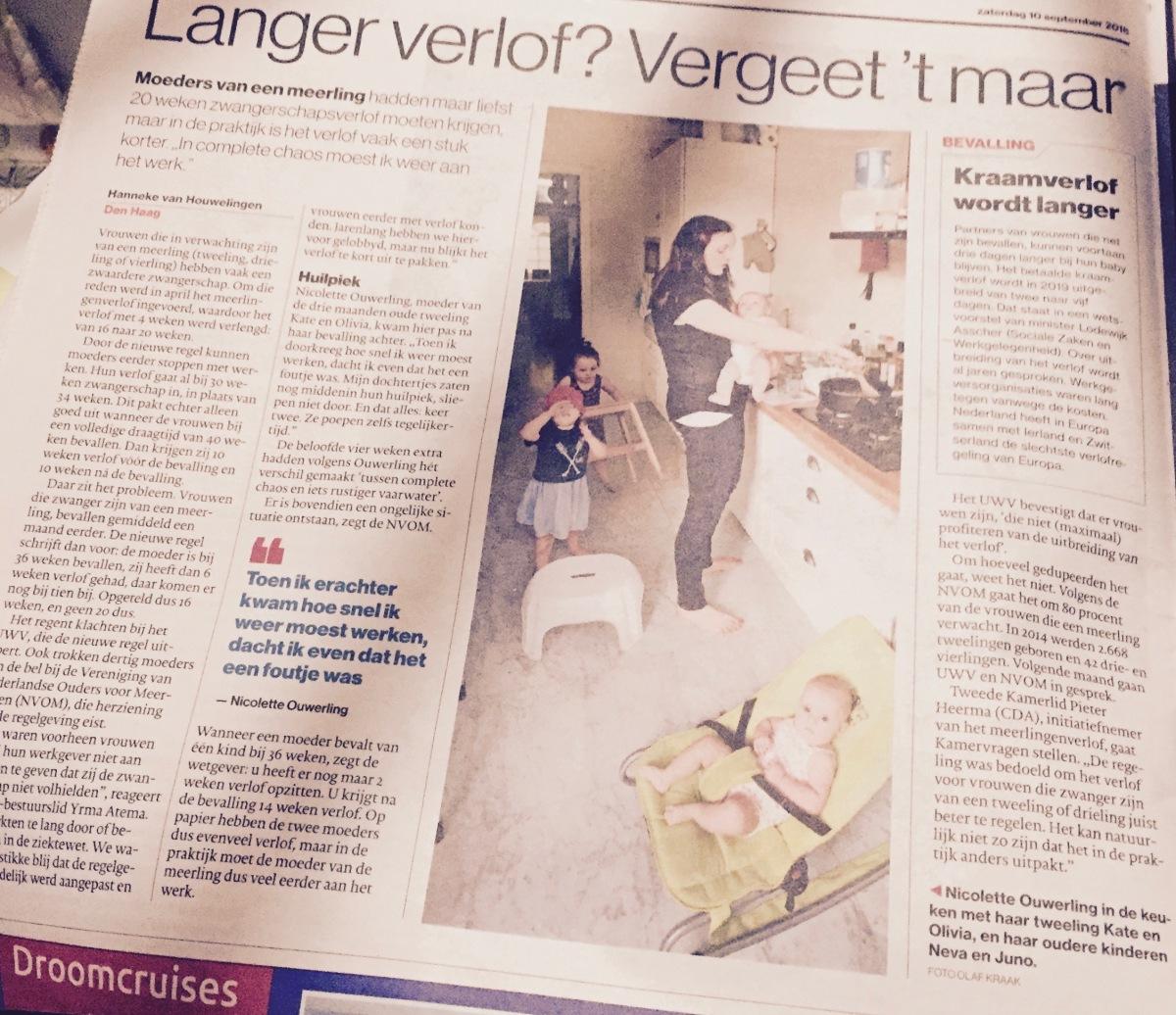 Hollantilainen äitiysloma on lyhyt